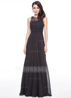 A-Line/Princess Scoop Neck Floor-Length Chiffon Tulle Evening Dress With Ruffle Beading Appliques Lace Sequins (017056500) - JJsHouse