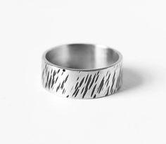 Tree bark ring silver hammered ring size V ring mens rings