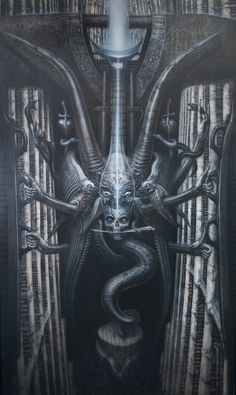 This deck of Tarot cards was selected by HR Giger himself. The great artist selected previously published work to act as each of the Major Arcana. Arte Horror, Horror Art, Hr Giger Art, Baphomet, Xenomorph, Chur, Dark Fantasy, Fantasy Art, Giger Alien