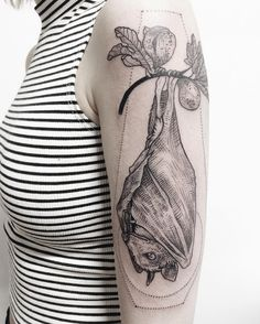 """""""Fruit bat with fig branch framed in coffin geometry! Thanks Katie! """""""