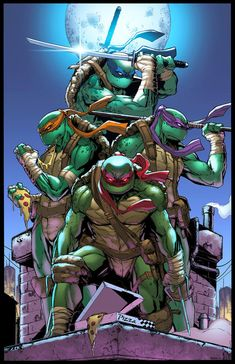 The personalities of my four characters are based off the ninja turtles. The dark colours of the turtles and the masks works well in a post apocalyptic setting. Ninga Turtles, Ninja Turtles Art, Teenage Mutant Ninja Turtles, Thundercats, Comic Books Art, Comic Art, Ninja Turtle Tattoos, Bd Comics, Gi Joe