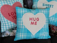 """Hug Me"" Vintage Wool Blanket Cushion Cushion Ideas, Hug Me, Vintage Wool, Wool Blanket, Blankets, Projects To Try, Arts And Crafts, Cushions, Xmas"