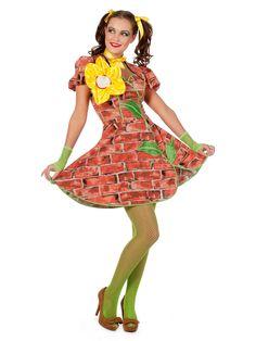 Dieses Mauerblümchen Damenkostüm rotbraun-gelb-grün aus der Kategorie Ausgefallene Kostüme hat wirklich nicht jede! Selten waren Mauerblümchen so attraktiv wie in diesem Kleid. Perfekt für Fasching oder Mottopartys.