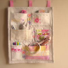 Fabric wall tidy/ hanging storage/ pockets