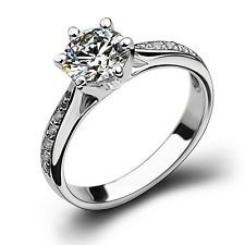 Unique Jewelry - 18k White Gold Filled in Silver Women Wedding Bridal Engagement Ring 7 R34