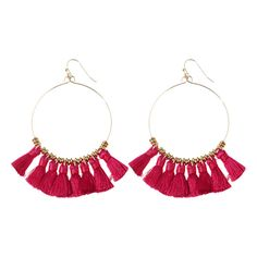 Tassels Cicle Hoop Drop Earrings Rose Red (56 MXN) ❤ liked on Polyvore featuring jewelry, earrings, drop earrings, rose jewelry, tassel jewelry, tassel earrings and rose jewellery