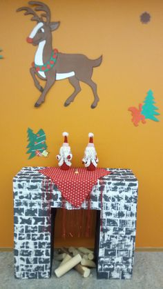 """""""Rodulph the red nose reindeer"""". Christmas decoration at the school."""