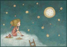 sweet dreams on Behance - Sasha Salmina Cute Wallpaper Backgrounds, Cute Wallpapers, School Murals, Illustration Art Drawing, Photoshop, Whimsical Art, Cute Drawings, Sweet Dreams, Art Pictures