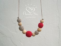 Valentine NURSING Necklace Linen Grey Red Crochet by AmazingDay