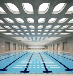 Stretch ceilings Barrisol - Sport halls and swimming pools #modernpoolhall