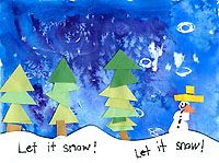 Mountain color blog art lesson watercolor background with cut out paper trees , you can purchase the lesson from the Teacher