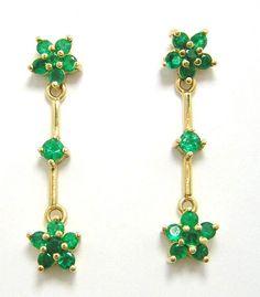 Colombian Round Emerald Hanging Earrings 1.44 Cts Muzo 18K Y Gold Fine Jewelry #HandmadeByCiCeRi #Earrings