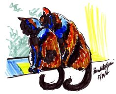 The Creative Cat - Daily Sketch: Back to Back