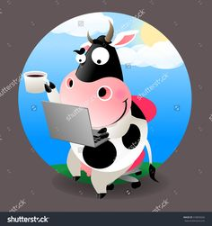 cow with pc and coffee