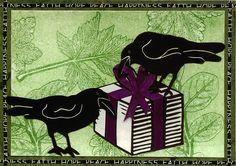 """Raven's Wish"" by Karen Beason Bird Graphic, Jackdaw, Crows Ravens, Bird Wings, Woodblock Print, Moose Art, Creatures, Blackbirds, Art Cards"