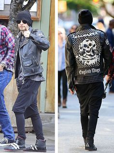 Jared Leto wears Enfants Riches Deprimes Leather Jacket and Creative Reaction Sneakers in New York #jaredleto #enfantsrichesdeprimes #leatherjacket #creativereaction #30secondstomars