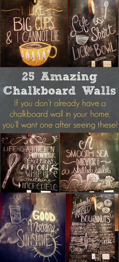I am in LOVE with these chalkboard wall photos! SO many great ideas!