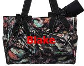 Personalized Diaper Bag Quilted Camo Black 2pc Set