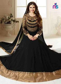 690af04048 SC 12418 Black Embroidered Georgette Party Wear Semi Stitched Anarkali  Replica Anarkali Churidar