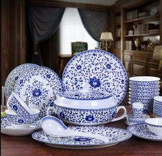 Chinese Style Blue and White Porcelain Dining Set (56 Pcs)
