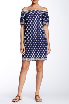 Off-The-Shoulder Embroidered Shift Dress by Max Studio on @nordstrom_rack