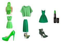 """""""Ugly green"""" by cadencelebleu on Polyvore featuring Brian Atwood, NYX, Chicwish, Charlotte Olympia and Max Studio"""