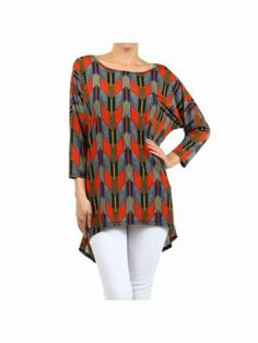 Tribal Chevron Dolman Sleeve Hi-Lo Tunic Top