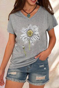 Daisy Print Paneled V-neck Casual Short Sleeves T-shirt - Shopingnova