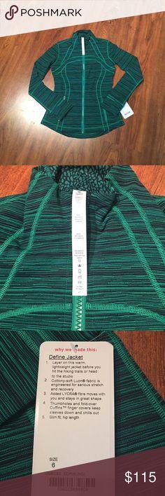 Lululemon Define Jacket NWT, jungle green and navy blue. lululemon athletica Jackets & Coats