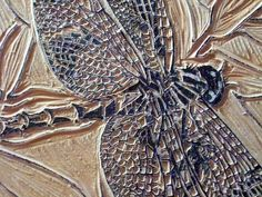 Original dragonfly carved woodblock by Erin K. Nolan.