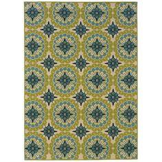 Oriental Weavers Caspian Green/Blue/Ivory Indoor/Outdoor Rug & Reviews | Wayfair