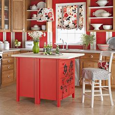 Build a Kitchen Island from  TWO Dressers placed back to back... add a flat surface of choice for the top ... ( your choice.. wood, marble, etc ) Paint and Pretty it up. Makes GREAT Storage for cookbooks, baking supplies like cookie sheets, muffin pans ,  tea towels, Your choices !