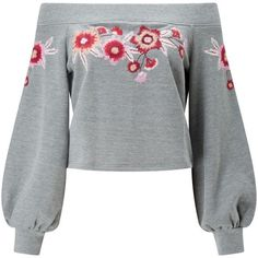 Miss Selfridge Embroidered Bardot Jumper (165 RON) ❤ liked on Polyvore featuring tops, sweaters, embroidered sweater, print sweater, floral crop tops, floral embroidered top and floral print sweater