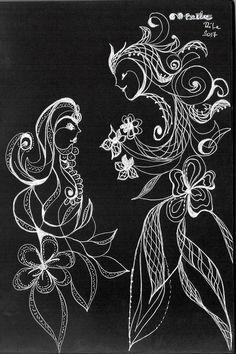 Fekete+papír,+fehér+tollrajz.  ©+Benke+Rita,+2017