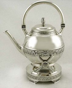 Gorham Sterling Silver Egyptian Tea Kettle  Stand Teapot 1887