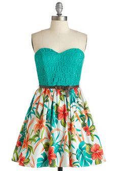 Frisson and Sand Dress - Multi, Floral, Print, Lace, Belted, Daytime Party, Beach/Resort, A-line, Strapless, Spring, Woven, Cotton, Sweetheart