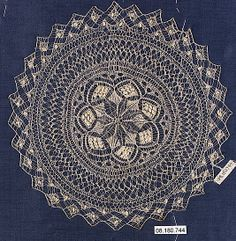 19th century Paraguayan knitted lace doily