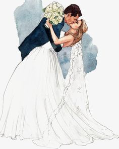 You May Kiss the Bride Illustration // via inslee Paar Illustration, Wedding Illustration, Couple Illustration, Illustration Mode, Portrait Illustration, Wedding Drawing, Wedding Art, Wedding Couples, Wedding Kiss