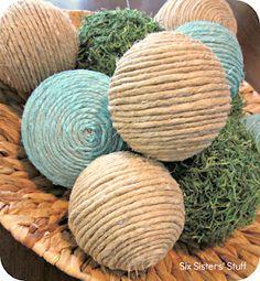 Six Sisters' Stuff: DIY Pottery Barn Inspired Decorative Balls ~ cute centerpiece