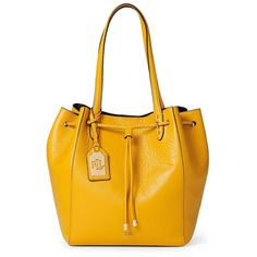 Lauren Ralph Lauren Oxford Leather Shopper ($248) ❤ liked on Polyvore featuring bags, handbags, tote bags, amber, oxfords, shoppers, leather tote, genuine leather handbags and genuine leather tote