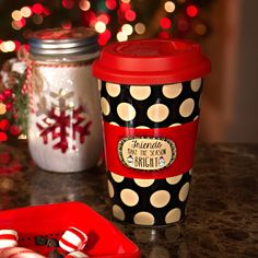 Snow Pals - Friends Make the Season Bright! Black Polka Dot Ceramic Double Walled Mug with Silicone Lid Christmas Themed Kitchenware Christmas Themes, Kitchenware, Polka Dots, Snow, Bright, Seasons, Mugs, Friends, How To Make