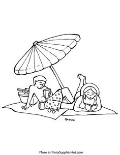 Beach Coloring Pages - Click Image and Print from Your Browser