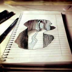 Perspectiva en cuaderno de dibujo
