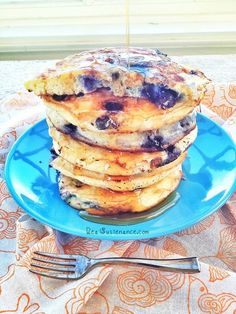 Extra Fluffy Coconut Flour Blueberry Pancakes ~ (gluten/grain/nut/seed/dairy/sugar free)