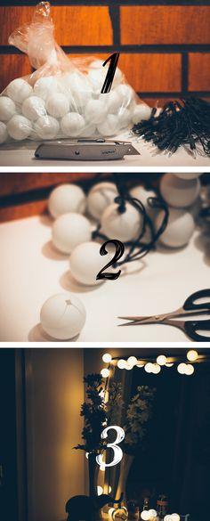 DIY decorations from christmas lights and pingis balls ///  DIY valopallot jouluvaloista ja pingispalloista Ohjeet täällä: http://www.helmihytti.fi/2014/12/diy-jouluvalot-pingispalloista.html