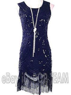 1920's Flapper Dress Vintage Clothing Great Gatsby Charleston Beaded Tassel 20's. $30