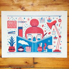 Making Things  A two-colour limited edition risograph print featuring a busy artist hard at work. Full of details, this is one for stationery-lovers and