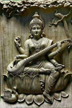 Saraswati - Goddess of Knowledge Shiva Art, Krishna Art, Hindu Art, Saraswati Statue, Saraswati Goddess, Durga, Clay Wall Art, Clay Art, Mural Painting
