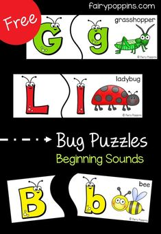 Free bug puzzles which focus on beginning sounds and learning bug vocabulary. Perfect activity for a bug unit. Preschool Centers, Free Preschool, Preschool Printables, Preschool Themes, Preschool Lessons, Preschool Classroom, In Kindergarten, Literacy Centers, Free Printables