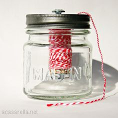 Store your twine in these Mini Mason Jar Twine Dispensers.